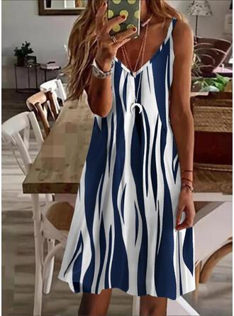 Print Sleeveless Shift Knee Length Casual Slip Dresses