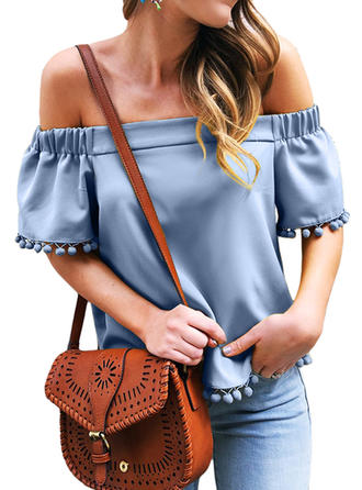 Solid Off the Shoulder 1/2 Sleeves Casual Sexy Blouses