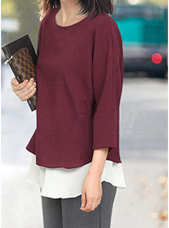 Polyester Round Neck Patchwork 3/4 Sleeves Casual Blouses
