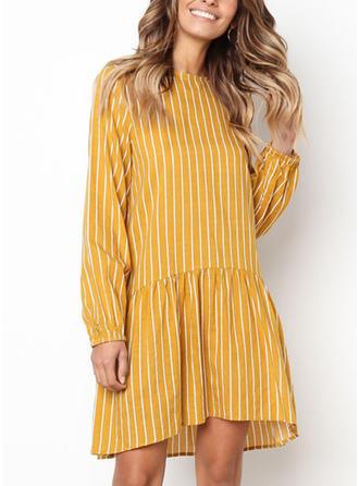 Striped Round Neck Above Knee Shift Dress