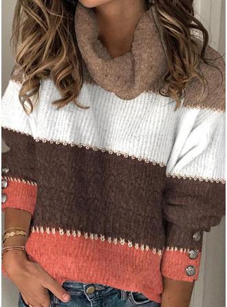Color Block Striped Cowl Neck Sweaters