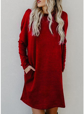 Solid Pocket Round Neck Sweater Dress
