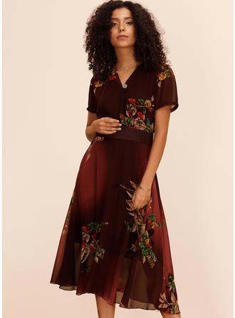 Nadrukowana/Kwiatowy Krótkie rękawy W kształcie litery A Midi Casual/Elegancki Sukienki