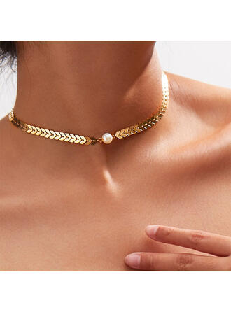 Stylish Simple Alloy With Imitation Pearl Necklaces