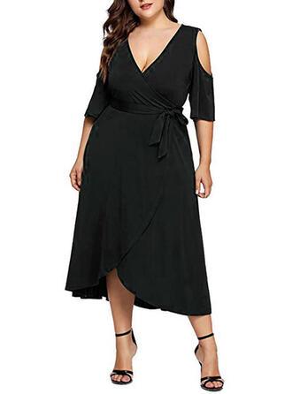 Einfarbig 3/4 Ärmel/Kalte Schulter Ärmel A-Linien Kleine Schwarze/Party/Elegant/Große Größen Midi Kleider