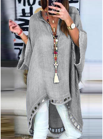Solid Patchwork V-neck 3/4 Sleeves Casual Knit Blouses
