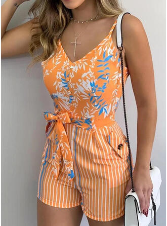 Print Spaghetti Strap Sleeveless Casual Vacation Romper