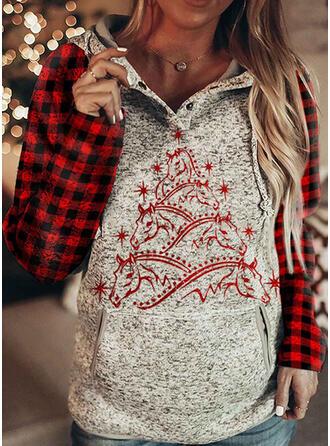 Animal Print rács Dlouhé rukávy Vánoční mikina
