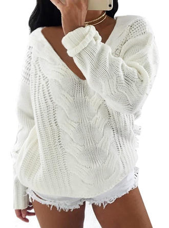 Acrylic V-neck Cable-knit Sweater