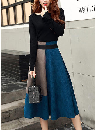 Color-block Long Sleeves A-line Midi Vintage/Elegant Dresses