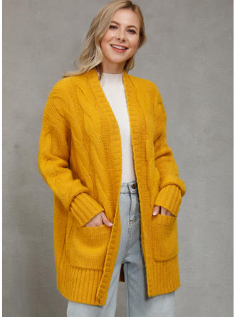 Solid Cable-knit Pocket Cardigan
