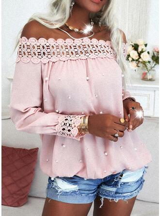 Einfarbig Spitze Perlen Off-Schulter Lange Ärmel Elegant Blusen