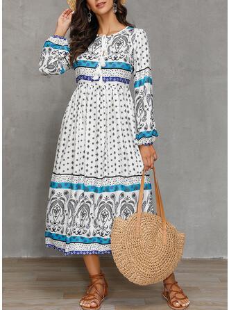 Nadrukowana Długie rękawy W kształcie litery A Casual/Boho/Wakacyjna Midi Sukienki