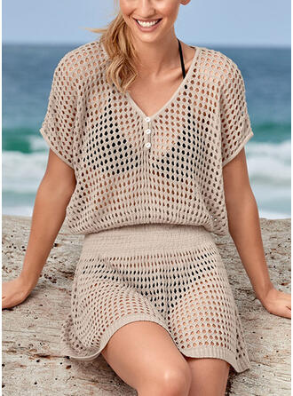 Solid Color Mesh V-Neck Elegant Bohemian Cover-ups Swimsuits