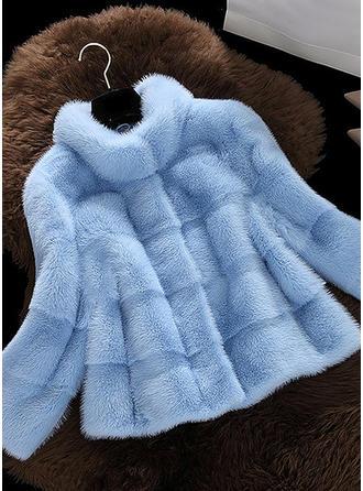 Sztuczne Futro Długie rękawy Jednolity kolor Futro ze sztucznego futra