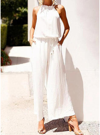 Solid Halter Sleeveless Casual Vacation Jumpsuit