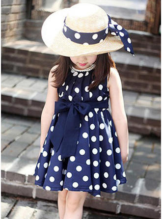Girls Round Neck Print Polka Dot Bow Casual Cute Dress