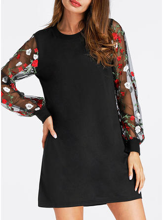Embroidery Round Neck Above Knee Shift Dress