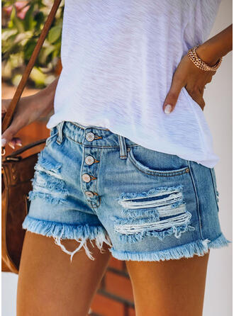Pockets Shirred Ripped Casual Sexy Shorts