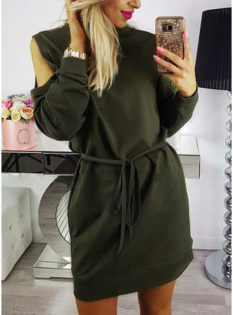 Solid Long Sleeves/Cold Shoulder Sleeve A-line Above Knee Casual Dresses