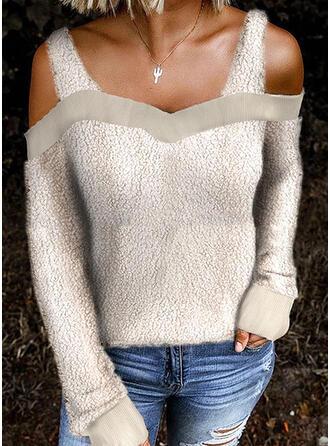 Einfarbig Kalte Schulter Lange Ärmel Freizeit Blusen