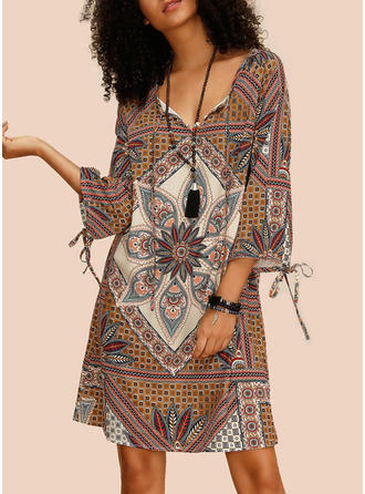 Print/Floral 3/4 Sleeves Shift Knee Length Casual/Boho/Vacation Dresses (199268392)