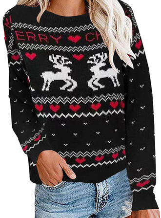 Animal Print Heart Round Neck Casual Christmas Ugly Christmas Sweater