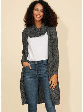 Print Chunky knit Collarless Cardigan