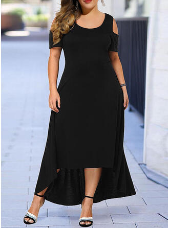 Plus Size Solid Short Sleeves A-line Asymmetrical Casual Little Black Dress