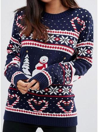 De mujer poliéster Impresión Suéter feo de navidad
