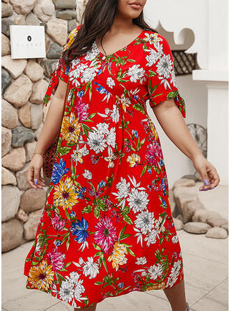 Print/Floral 1/2 Sleeves A-line Casual/Vacation/Plus Size Midi Dresses