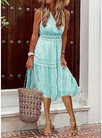 Lace/Print Sleeveless A-line Casual/Vacation Midi Dresses
