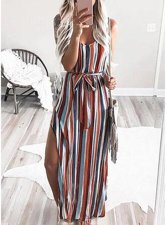 Striped Sleeveless A-line Casual Maxi Dresses