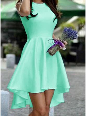 Bez rękawów Linia A Asymetryczny Zabytkowe Sukienki