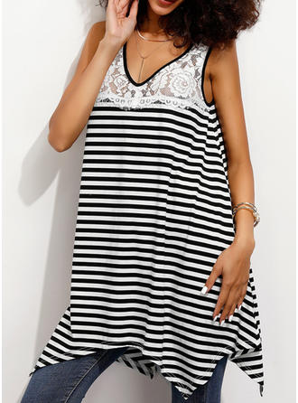 Striped V Neck Sleeveless Casual Tank Tops
