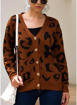 Nadruk Dekolt w kształcie litery V Swetry