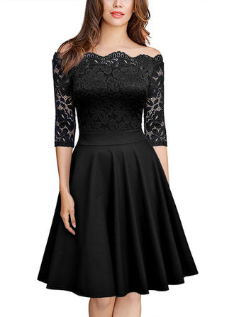 Lace Solid Off-the-Shoulder Knee Length A-line Dress
