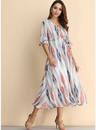 Print 1/2 Sleeves/Flare Sleeves A-line Midi Casual/Elegant Dresses