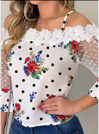 Floral Lace PolkaDot Cold Shoulder Flare Sleeve 3/4 Sleeves Casual Elegant Blouses