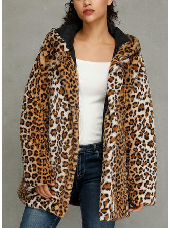 Polyester Long Sleeves Animal Print Faux Fur Coats