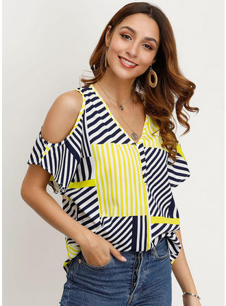 Striped Cold Shoulder Short Sleeves Casual Blouses