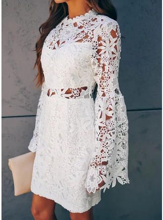 Lace Long Sleeves Sheath Knee Length Casual Dresses