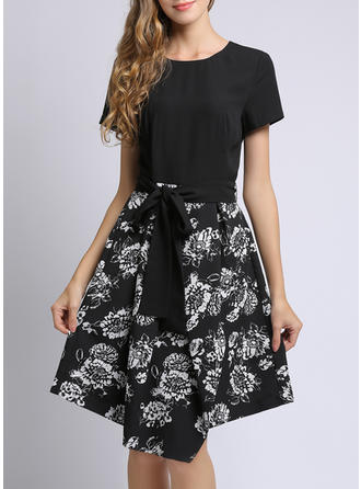 Print/Floral Short Sleeves A-line Asymmetrical Casual Dresses