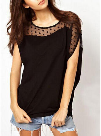 Solid Patchwork Round Neck Short Sleeves Casual T-shirts