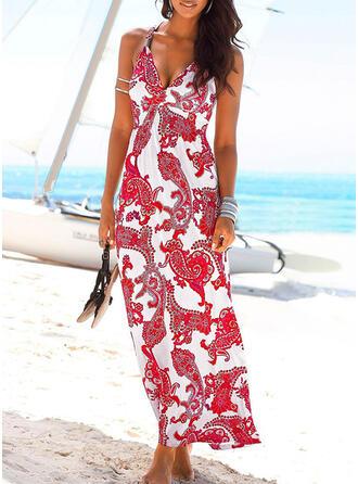 Print Sleeveless Sheath Tank Casual/Boho/Vacation Maxi Dresses