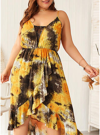 Print Sleeveless A-line Asymmetrical Casual/Vacation/Plus Size Dresses