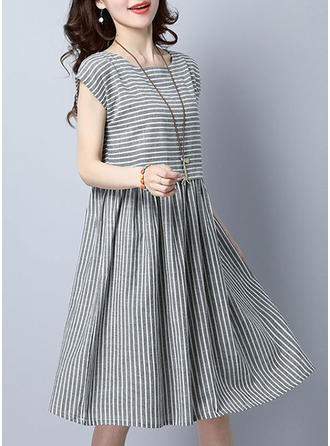 Striped Round Neck Knee Length Shift Dress