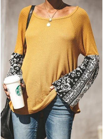 Patchwork Round Neck Long Sleeves Casual Knit Blouses