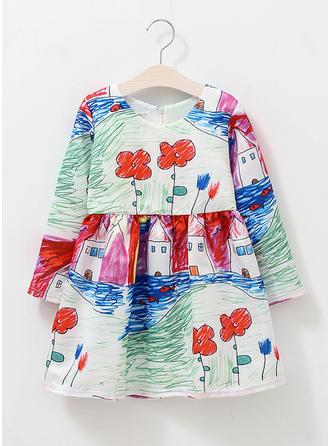 Dziewczyny Okrągły Dekolt Kwiatowy Wydrukować Nieformalny Ładny Sukienka