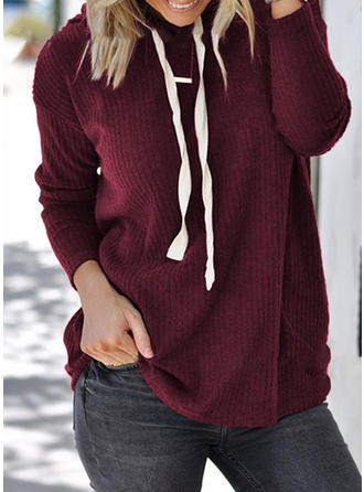 Poliester Bawełna Bluza z kapturem Jednolity kolor Swetry